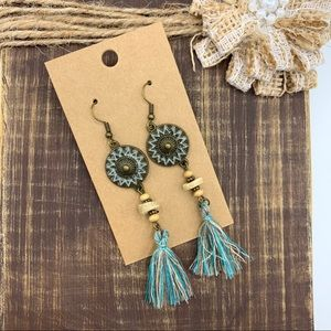 NWT Copper Patina Boho Fringe Earrings